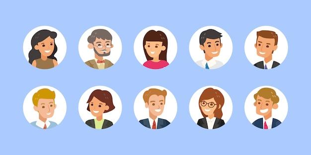Raccolta di avatar di uomini d'affari. volti di uomo e donna di giovani adulti, icone colorate utente foto a forma di cerchio. illustrazione piana del fumetto di stile di progettazione isolata.