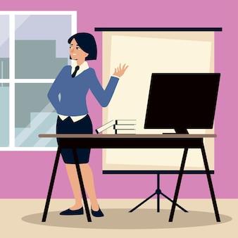 Uomini d'affari, imprenditrice in ufficio con computer e libri di lavoro