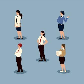 La gente di affari imprenditrici caratteri professionali impostare illustrazione