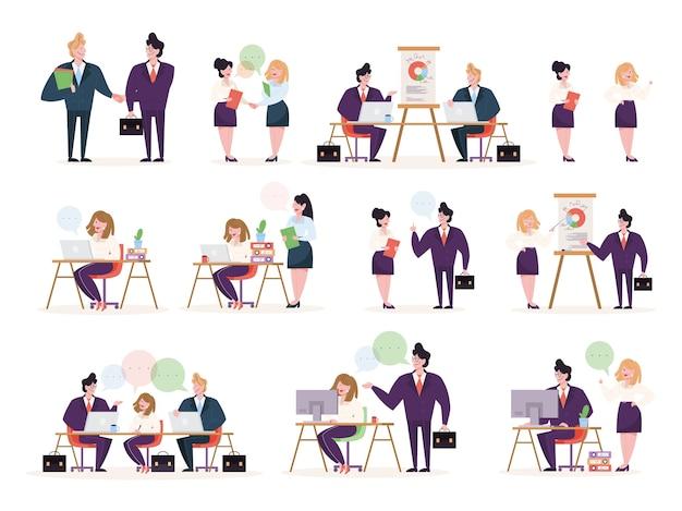 Carattere di persone d'affari nel set per ufficio. persona in tuta che svolge diverse attività. presentazione dell'ufficio e operazione finanziaria. illustrazione