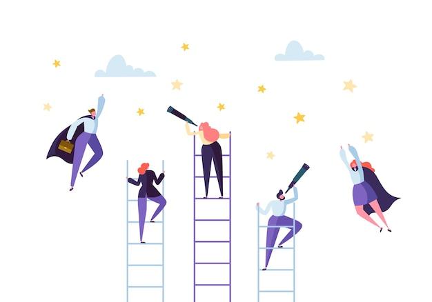 Gente di affari che sale sulla scala per il successo