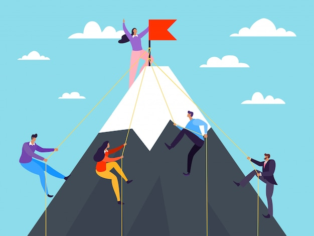 Gente di affari che scala sulla montagna, illustrazione. successo ottenuto dal concetto di leadership, scalare il picco di carriera.