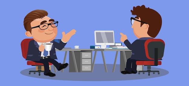 Uomini d'affari o colleghi seduti insieme e bere caffè o tè con una bella chiacchierata