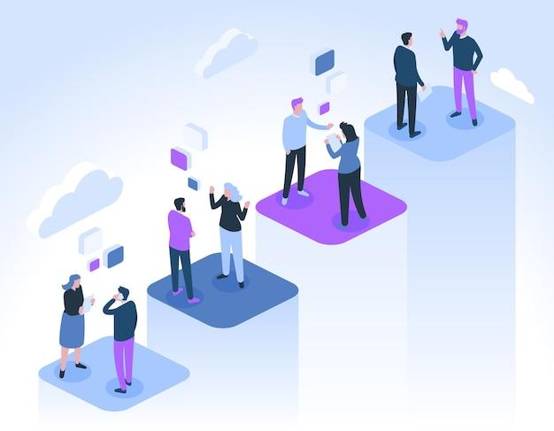 Gli uomini d'affari comunicano. imprenditrice di successo e uomini d'affari parlano, fanno collegamenti e si incontrano.