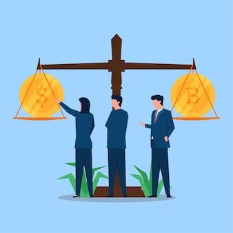 Uomini d'affari che confrontano tra denaro e bitcoin