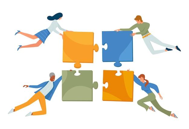 La gente di affari collega i personaggi del team di concetto di puzzle che volano tenendo i pezzi del puzzle