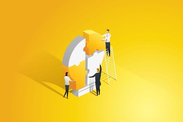 Uomini d'affari che si collegano tra loro di pezzi di puzzle con lampadine