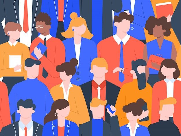 Modello di folla di uomini d'affari. caratteri del collega dell'ufficio, gruppo di uomo d'affari in vestiti rigorosi, gruppo che sta insieme illustrazione senza cuciture