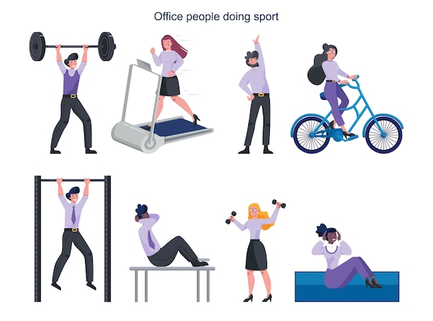 Gente di affari che fa sport insieme. raccolta di diverse attività sportive.