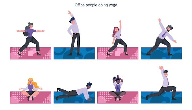 Insieme di yoga doiong uomini d'affari. rilassamento ed esercizio