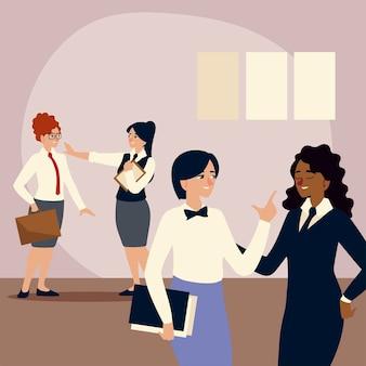 Uomini d'affari, dipendenti di sesso femminile con cartella e valigetta illustrazione