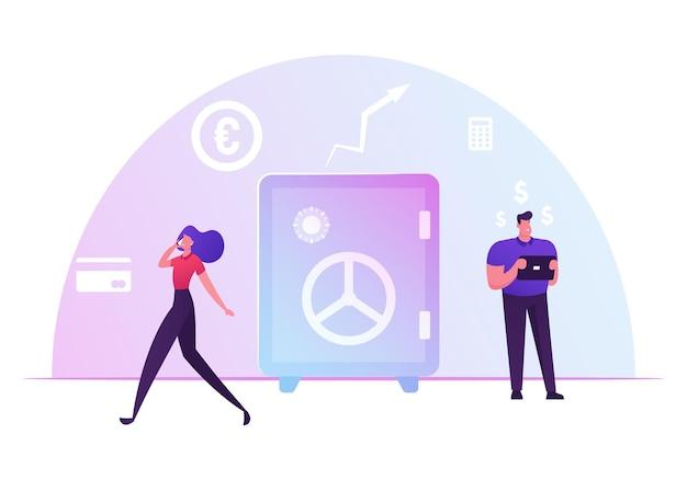 Gente di affari e concetto di finctech. imprenditore e imprenditrice utilizzano tecnologie finanziarie. cartoon illustrazione piatta