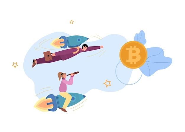La gente di affari vola sul razzo all'illustrazione piana di vettore della moneta d'oro isolata