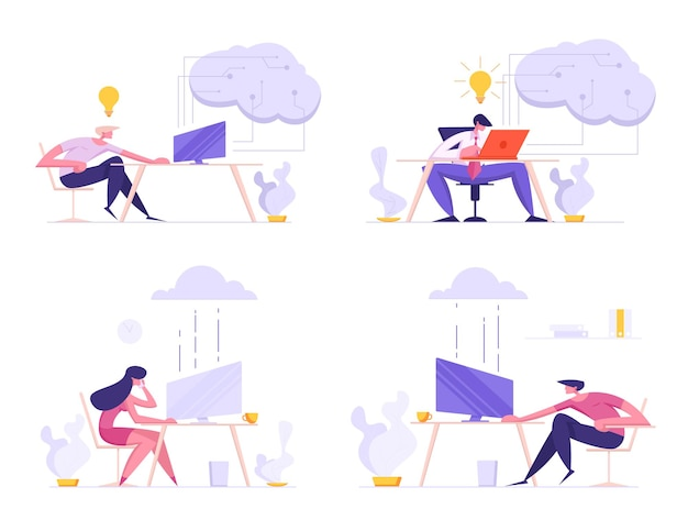 Uomini d'affari, liberi professionisti che utilizzano il sistema cloud per lavoro e comunicazione illustrazione piatta