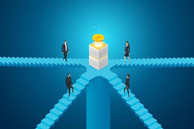 Il gruppo di uomini d'affari sta salendo le scale verso la criptovaluta bitcoin
