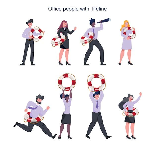 Gente di affari che tiene un'ancora di salvezza. lifeline come metafora di aiuto