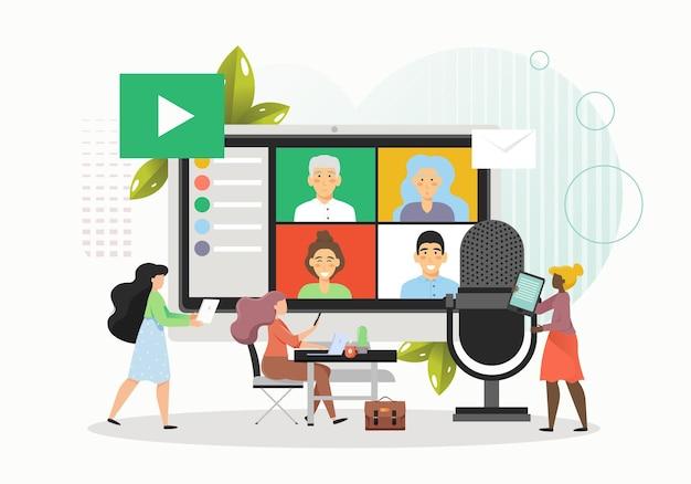 Gente di affari che tiene riunione di squadra in linea o videoconferenza
