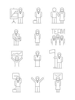 Icona di persone d'affari. le relazioni dei responsabili dell'ufficio del gruppo le persone riuscite dell'utente dialogano semplici simboli di affari