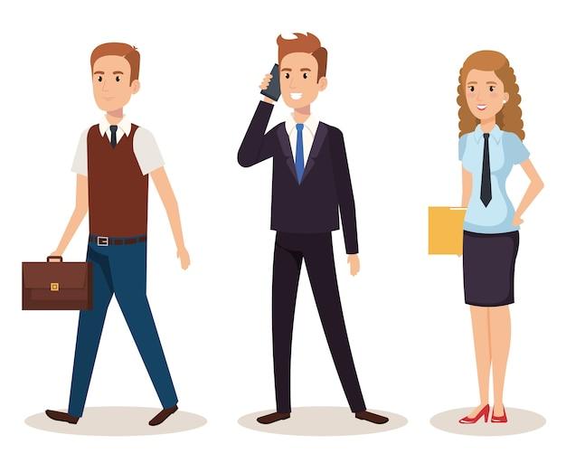 Progettazione isometrica dell'illustrazione di vettore degli avatar delle persone di affari