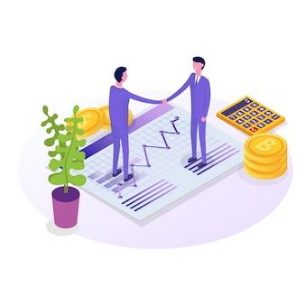 Uomini d'affari personaggi isometrici, collega. concetto di lavoro di squadra e partnership. illustrazione isometrica su sfondo bianco.