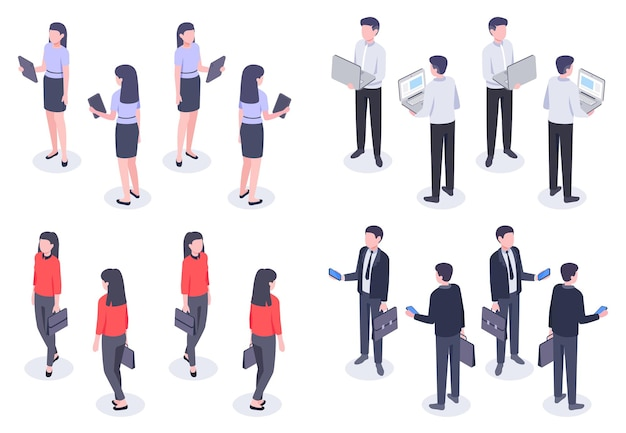 Insieme isometrico di uomini d'affari. uomo e donna impiegato in abiti formali eleganti che tengono dispositivi come laptop, smartphone e tablet. illustrazione vettoriale di vista anteriore e posteriore dei dipendenti di sesso femminile e maschile
