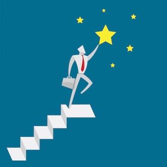 Gli uomini d'affari saltano su stella per obiettivo stile di carta origami