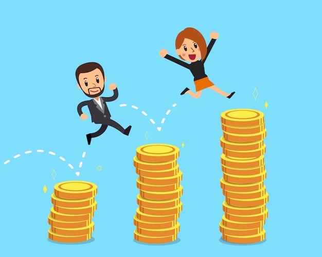 Gente di affari che salta sopra le pile dei soldi