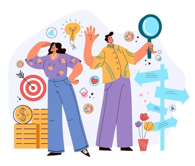 Personaggi di uomini d'affari di uomini e donne che guardano al futuro