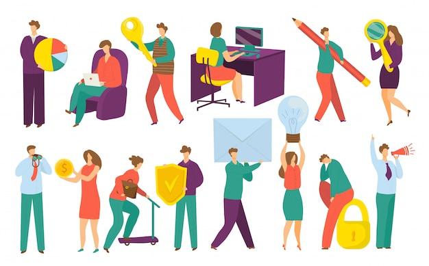 Uomini d'affari, manager, dirigenti, serie di illustrazioni su bianco. uomini d'affari e donne d'affari professionisti lavorano al computer, tenendo grafici, soldi, chiavi e simboli aziendali.