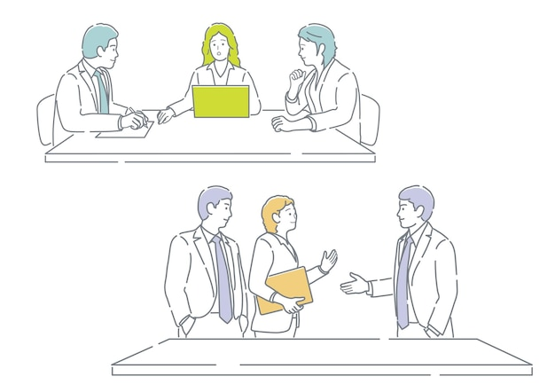 La gente di affari nella riunione facile da usare piatto semplice illustrazione vettoriale impostato isolato su un bianco bac