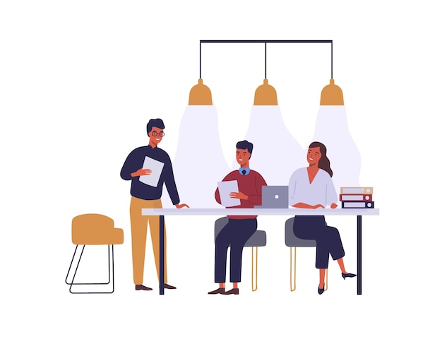 Gente di affari che incontra l'illustrazione piana di vettore. discussione dei personaggi dei cartoni animati dei colleghi nella sala conferenze. partnership e trattative commerciali. clipart isolato dello spazio di coworking dei dipendenti.