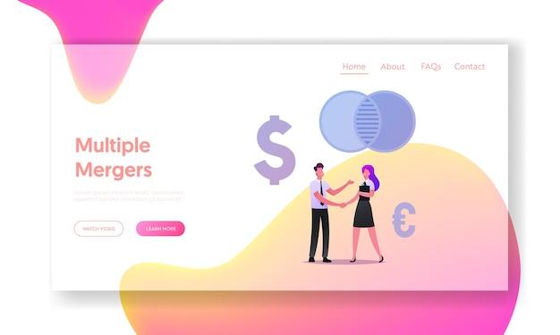 Business people meeting, negoziazione e modello di pagina di destinazione del partenariato