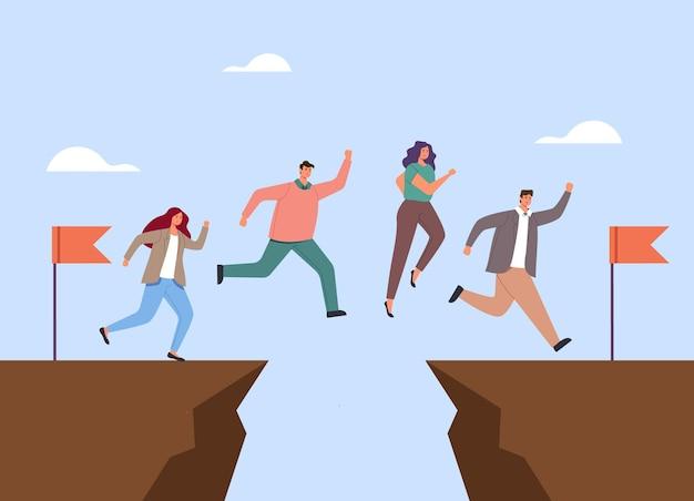 Caratteri di lavoratori di ufficio persone di affari che saltano sopra il divario concetto di lavoro di squadra.