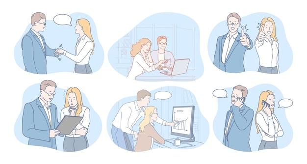 Personaggi dei cartoni animati di persone di affari partner colleghi di lavoro che parlano di progetti