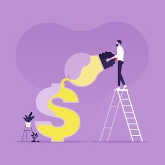 Uomini d'affari che versano idee dalla lampadina al simbolo del dollaro raffigurante il fare soldi