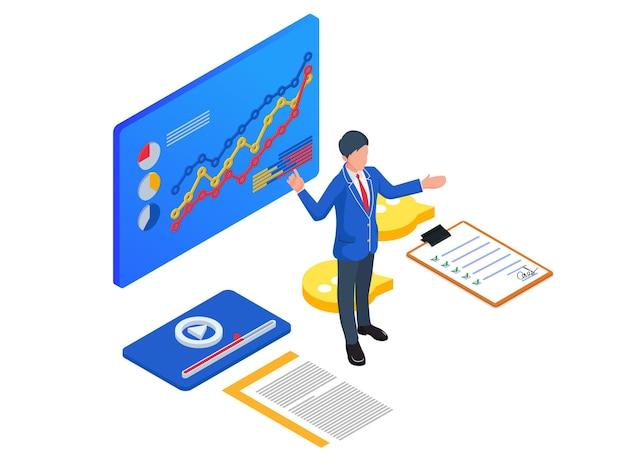 Uomini d'affari che presentano il loro sviluppo aziendale. illustrazione di avvio isometrica.