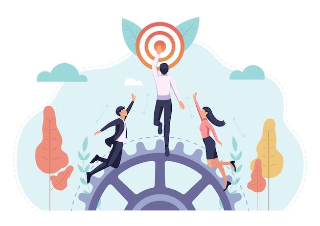 Gli uomini d'affari fanno a gara per raggiungere l'obiettivo per primi. obiettivo aziendale e concetto di concorrenza.