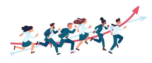 Gli uomini d'affari corrono. concorsi in esecuzione di lavoro di squadra, persone d'ufficio in corsa per il successo, professionisti partecipano alla maratona, concetto di vettore