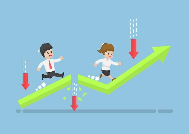 Gli uomini d'affari corrono in cima al grafico attraverso un ostacolo rischioso. rischio di investimento e concetto di ostacolo al business