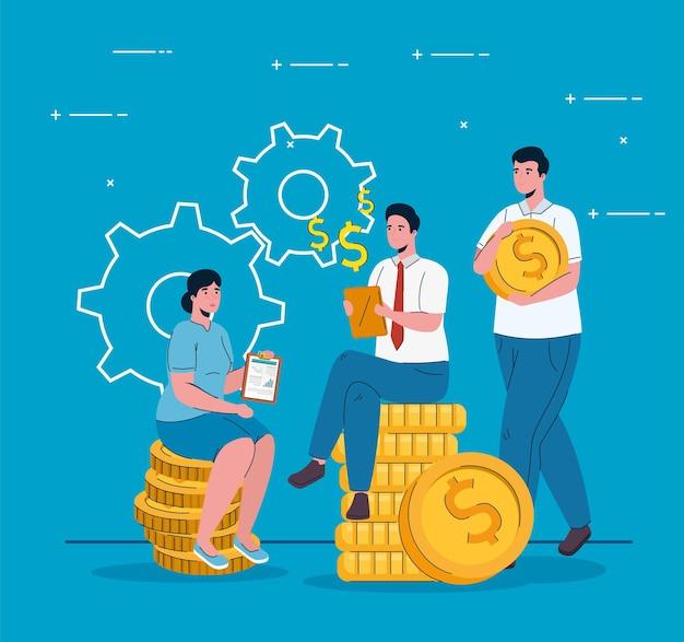 Uomini d'affari seduti in monete soldi dollari