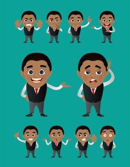 Uomini d'affari impostati con gesti diversi