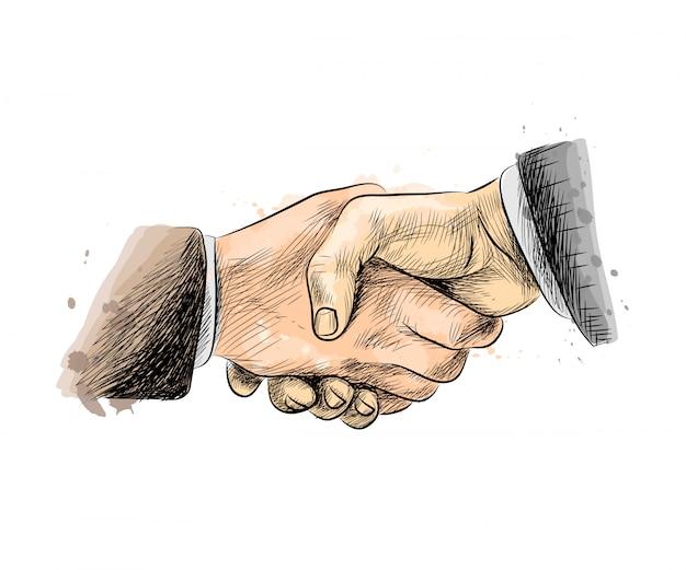 La gente di affari si stringono la mano, finendo incontro da una spruzzata di acquerello, schizzo disegnato a mano illustrazione vettoriale di vernici