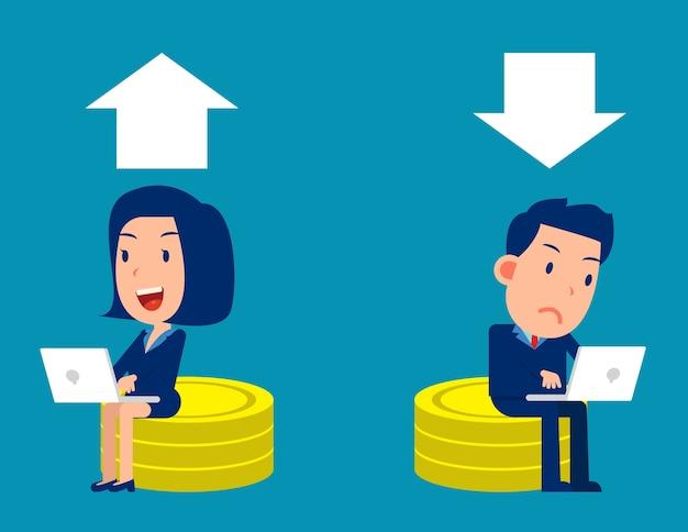 La gente di affari si siede su una pila di monete e commercia