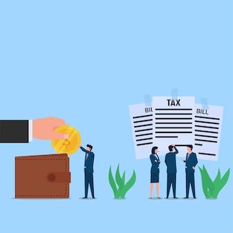 Gli uomini d'affari prendono la moneta dal portafoglio e pagano le tasse. metafora del problema finanziario.