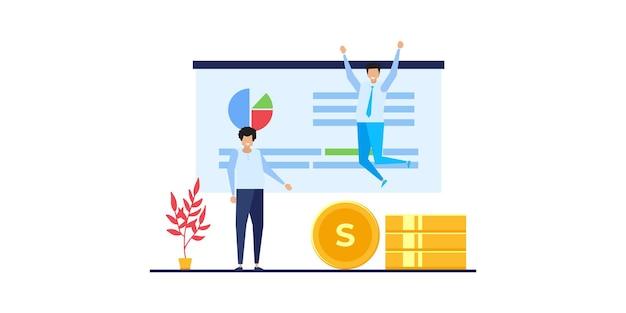 Analisi e monitoraggio del team di uomini d'affari sul concetto di monitoraggio del dashboard di report web e concetto di lavoro aziendale di illustrazione vettoriale