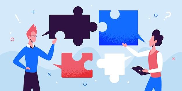 Imprenditore di comunicazione di squadra di uomini d'affari che parla lavorando con bolle di puzzle