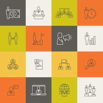 Relazione di squadra di uomini d'affari, linea sottile di gestione umana