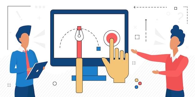 Lavoro di squadra di uomini d'affari e icone della linea del flusso di lavoro del team virtuale dello schermo tattile del dito