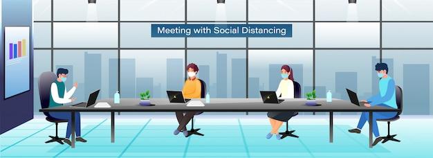 Gli uomini d'affari indossano una maschera protettiva mantenendo la distanza sociale nella sala riunioni durante il coronavirus. intestazione o banner pubblicitario.