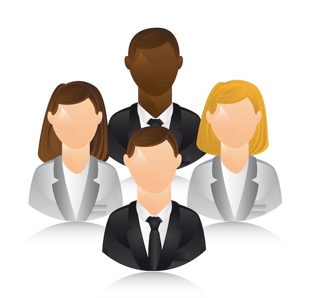 Gente di affari sopra l'illustrazione bianca di vettore del fondo